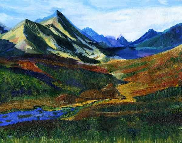 Пейзаж. Красивые радужные горы.