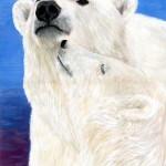 Белые медведи. Автор Елена Щербак. Гуашь.