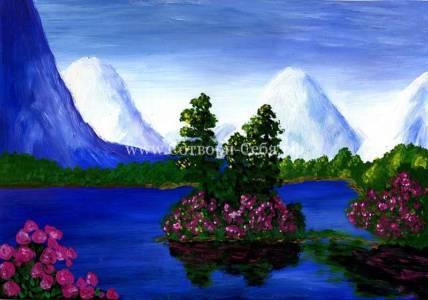 Пейзаж-синее-озеро-розы_