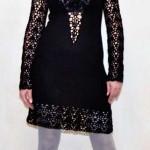Вязанное вечернее ажурное маленькое черное платье