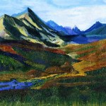 """Красивые радужные горы. Первый в жизни пейзаж ученицы школы """"Сотвори Себя"""" Дерюгиной Марины"""