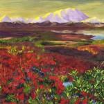 """Первый пейзаж ученицы школы """"Сотвори Себя"""" Доможаковой Ольги. Горы. Туман и цветы"""