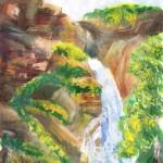 Водопад Куркуре. Алтай. Акварель. Катерина Бауэр