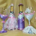 Свадебный набор из бутылок шампанского и фужеров. Сотвори Себя.