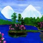Пейзаж-синее-озеро-розы1_