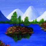 Пейзаж-синее-озеро-розы2_
